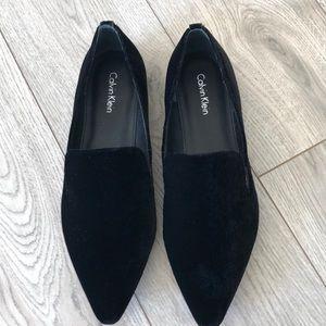 Calvin Klein velvet loafers